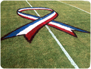ribbon stencil, patriotic stencil, midfield logo, football stencil, DURA STRIPE, DURASTRIPE, Aerosol, Field, Marking, paint, turf, durable, lowest price, high solids, wont kill grass, brightest white, Light blue, Handicap Blue, Navy blue, Royal Blue, Black, Gray, Red, Cardinal Red, Kelly Green, Turf Green, White, Purple, Royal Purple, Maroon, Orange, Fluorescent Orange, Brown, Pink, Fluorescent Pink, Yellow, Old Gold, Vegas Gold, Teal, BEST PAINT, BEST PRICE,