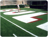 Spraying Football Field Endzone letters